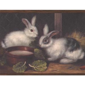 "Chesapeake Wallpaper Border -15' x 7"" -Bunnies in the Barn - Dark Brown"