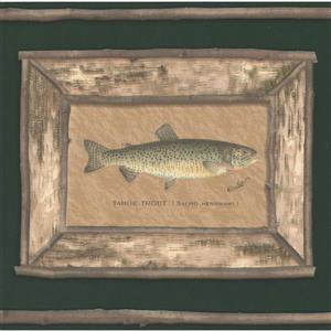 "Retro Art Wallpaper Border - 15' x 9"" - Trout Pictures - Moss Green"