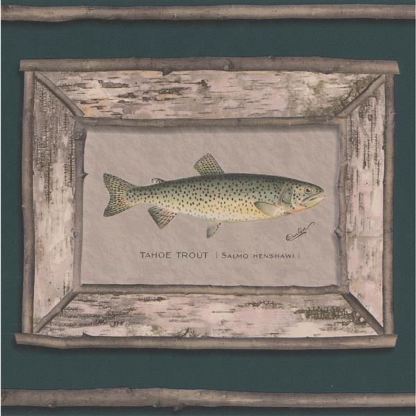 "Retro Art Wallpaper Border - 15' x 9"" - Trout Pictures - Pine Green"