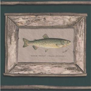 "Retro Art Wallpaper Border - 15' x 9"" - Trout Pictures - Pine Green"
