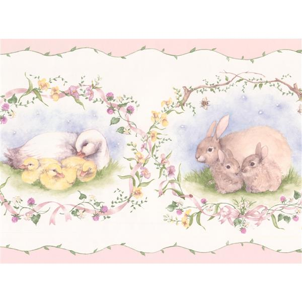 York Wallcoverings Wallpaper Border - 15-ft x 7-in - Retro Rabbit Duck Sheep -White