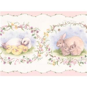 York Wallcoverings Wallpaper Border - 15-ft x 7-in - Retro Rabbit Duck Sheep -White