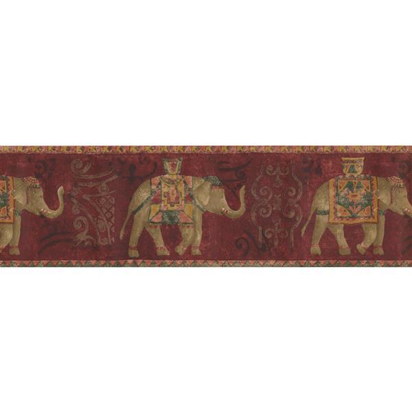 Norwall Wallpaper Border - 15' x 7-in- Elephants - Red/Brown