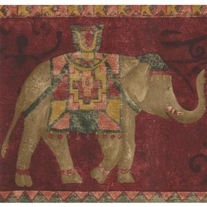 Norwall Wallpaper Border - 15' x 7-in- Elephants - Red/Brown
