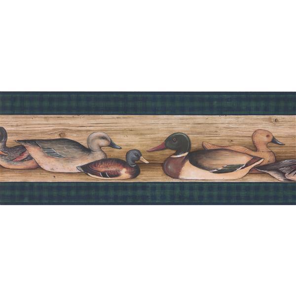 "Retro Art Wallpaper Border - 15' x 9.5"" -Vintage Ducks on Wooden Lake"
