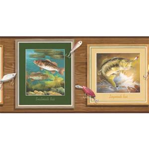 "Retro Art Wallpaper Border - 15' x 6.87"" - Bass Fish on Wooden Wall"