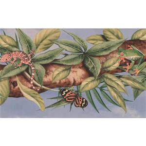 "Retro Art Wallpaper Border - 15' x 6.87"" - Lizard Butterfly Frog"