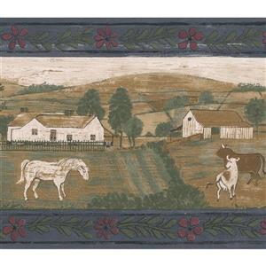 "Retro Art Wallpaper Border - 15' x 6.87"" - Village Houses and Animals"