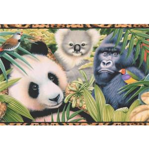 "Retro Art Wallpaper Border - 15' x 6.75"" - Beautiful Animals"