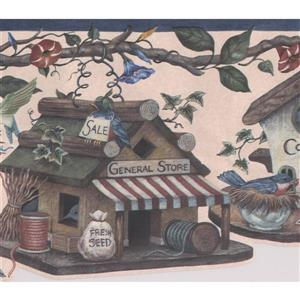 "Retro Art Wallpaper Border - 15' x 9"" - Birdhouse Village -Multicolour"