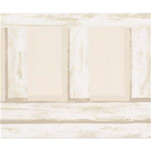 York Wallcoverings Wallpaper Border - 15-ft x 9-in - Abstract Fence Design - Beige
