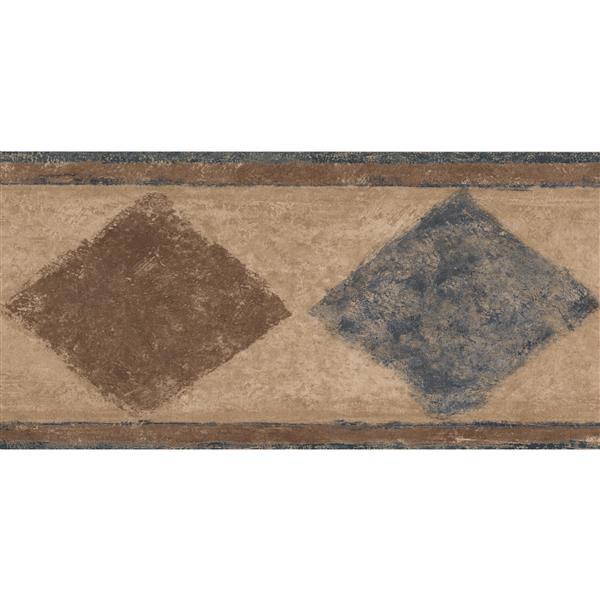 Beige Blue Black Abstract Wallpaper Border Rhombus Geometric Design Roll 15 x 7