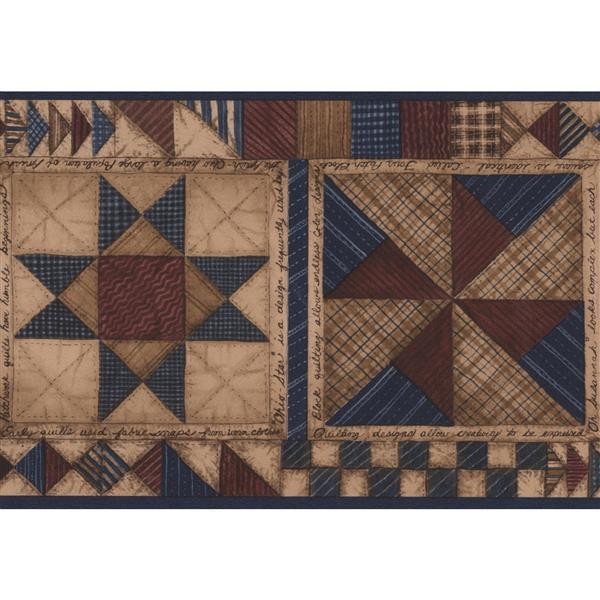 "Chesapeake Wallpaper Border - 15' x 5.5"" - Geometric - Beige/Blue/Brown"