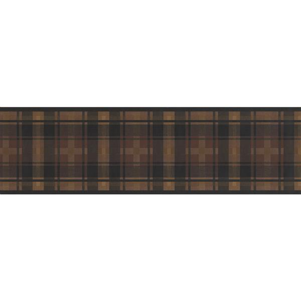 "Retro Art Wallpaper Border - 15' x 7"" - Plaid Design - Brown/Black"