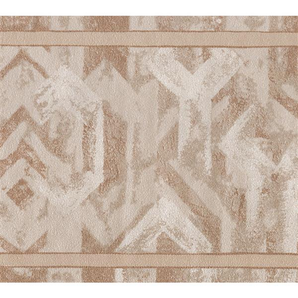 "Retro Art Wallpaper Border - 15' x 6.75"" -Abstract Design -Brown/White"