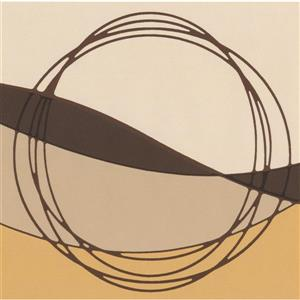 Norwall Wallpaper Border- 15' x 7-in- Circles and Waves - Brown/Beige