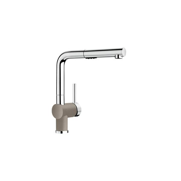 Posh Pull-Out Low Kitchen Faucet - Chrome/Truffle