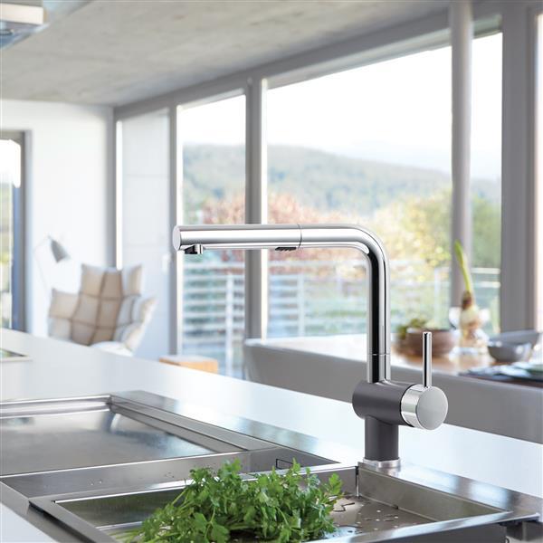 Robinet de cuisine rétractable Posh, chrome/cendre