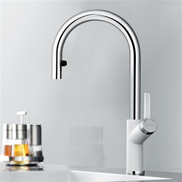 Urbena Pull-Down Kitchen Faucet - Chrome/White