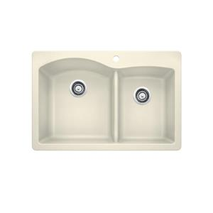 Diamond Double Bowl Drop-In Sink - Biscuit