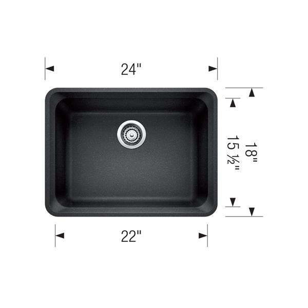Blanco Vision Undermount Sink - Grey - 24-in
