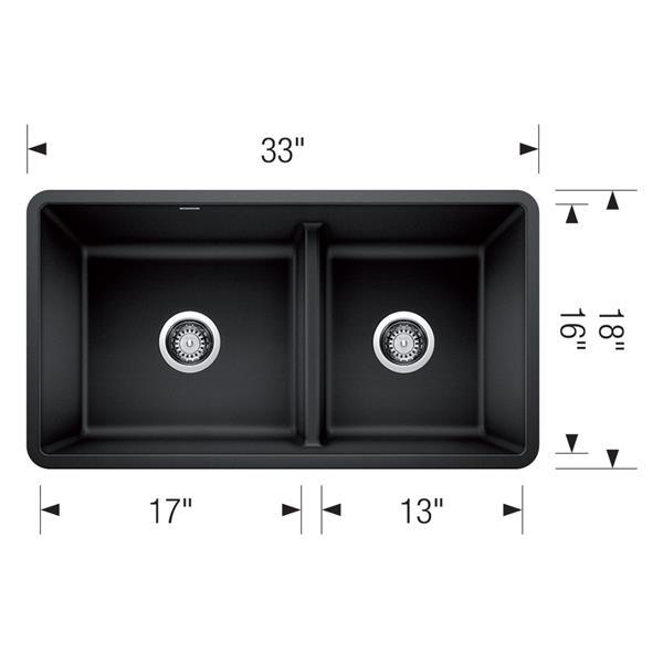 Blanco Precis Low Divide Undermount Sink - Black