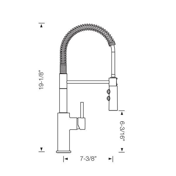 Robinet semi-pro rétractable Catris, acier inoxydable