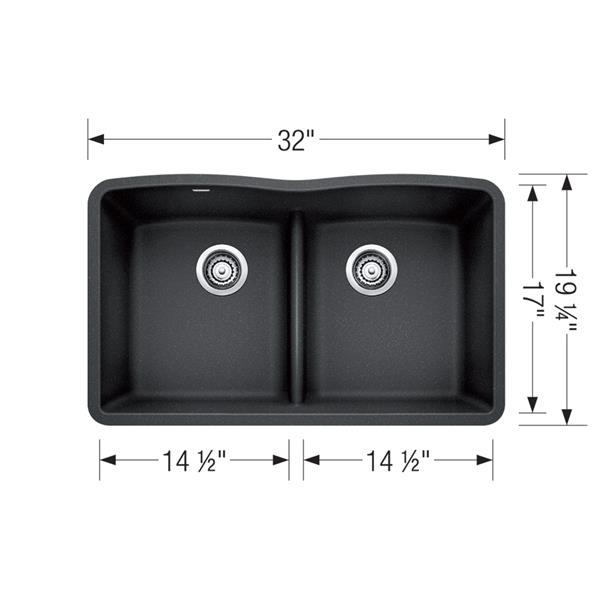 Évier de cuisine sous plan avec diviseur bas Diamond, café, 32,25 po