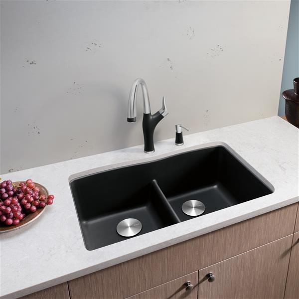 BLANCO CANADA Diamond Low Divide Kitchen Sink - Black 401834 ...