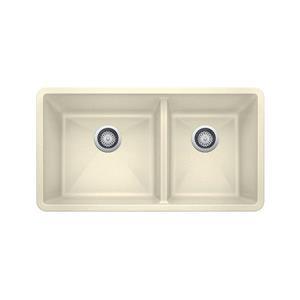 Precis Double Bowl Undermount Sink - Biscuit