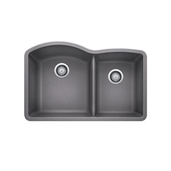 Évier de cuisine sous plan Blanco Diamond, gris, 32.25 po
