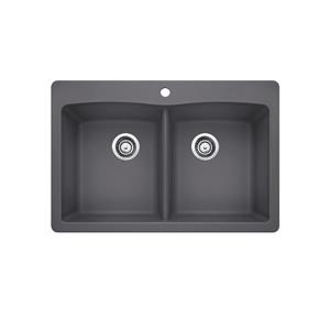Diamond Double Bowl Drop-In Sink, Cinder