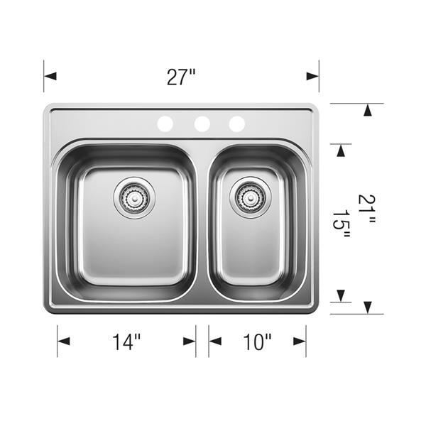 Blanco Essential Drop-In Sink, Chrome - 27.25-in