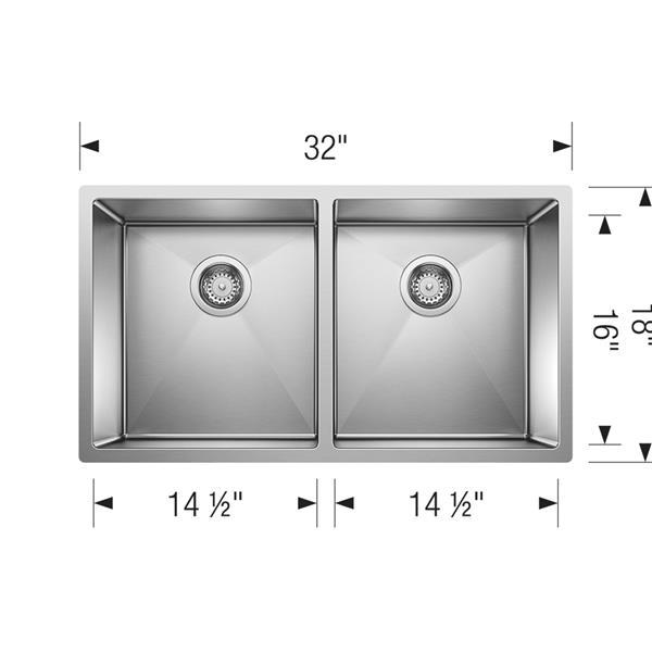 Évier double Radius, chrome