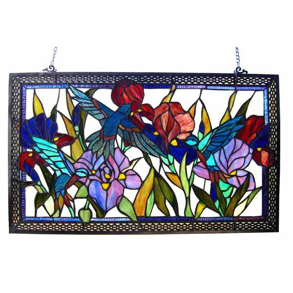 """Panneau de fenêtre style Tiffany, 28"""" x 17"""", rectangulaire"""
