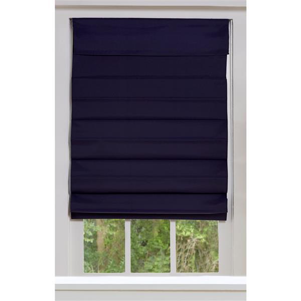 """Store romain coupe-lumière en tissu, 60"""" x 72"""", bleu minuit"""
