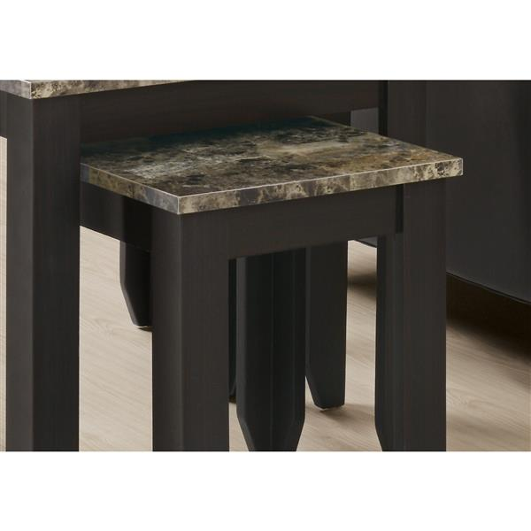 """Tables d'appoint, 11,5"""", composite, cappuccino, 3 mcx"""