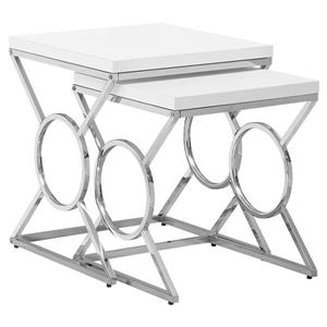 "Tables d'appoint, 19,75"" x 22,75"", composite, blanc, 2 mcx"