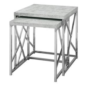 """Tables d'appoint, 19,75"""", composite, gris, 2 mcx"""