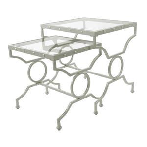 """Tables d'appoint, 20,5"""" x 23,5"""", verre, argent, 2 mcx"""