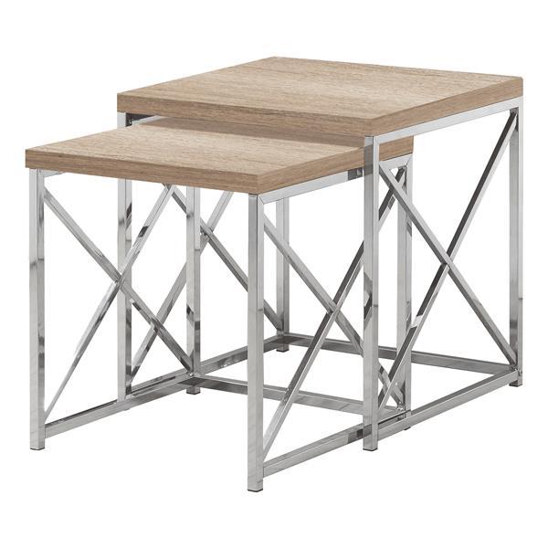 """Tables d'appoint, 19,75"""" x 21,25"""", composite, naturel, 2 mcx"""