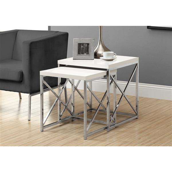 """Tables d'appoint, 19,75"""" x 21,25"""", composite, blanc, 2 mcx"""