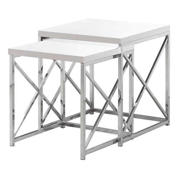 Monarch Accent Tables - 19.75-in x 21.25-in - Composite - White - 2 pcs