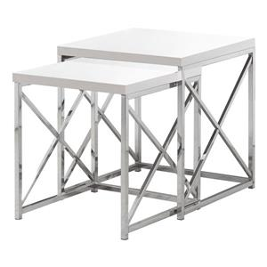 "Tables d'appoint, 19,75"" x 21,25"", composite, blanc, 2 mcx"