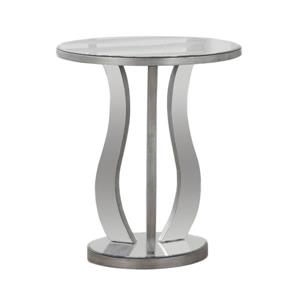 Monarch Accent Table - 20-in x 24-in - Glass - Silver