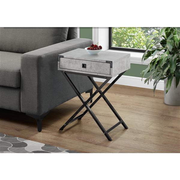 Monarch Accent Table - 12-in - Composite - Gray