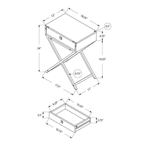 "Table d'appoint, 12"" x 24"", composite, blanc"