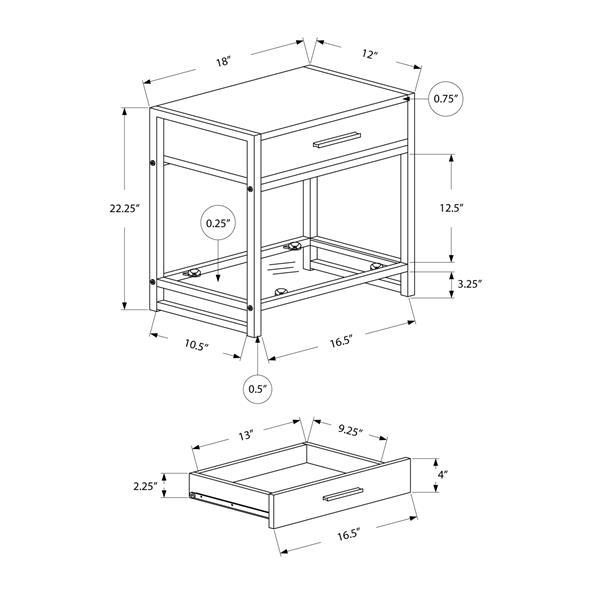"""Table d'appoint, 22,25"""", composite, taupe foncé"""