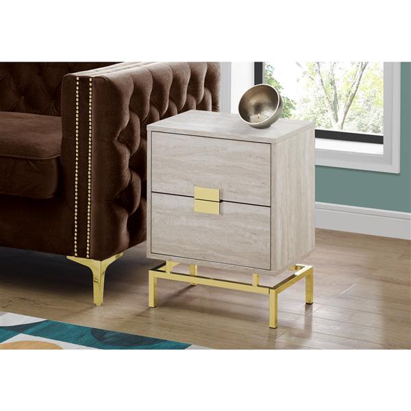 "Table d'appoint, 23,5"", composite, beige"