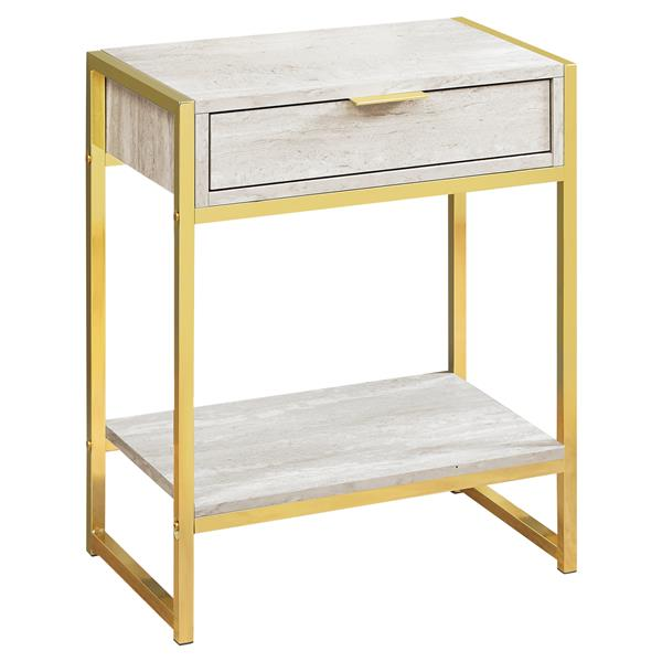 Monarch Accent Table - 12.75-in x 23.75-in - Composite - beige